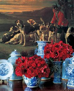 Blue & White Porcelain with red roses.