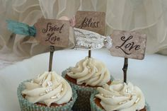 wedding cupcake toppers | WEDDING CUPCAKE TOPPER - weddings, bridal shower, reception - woodland ...