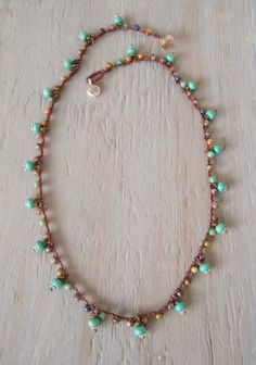 "Moroccan boho crochet necklace ''Shimmy"" turquoise dangles, Thai silver"