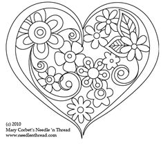 Free Hand Embroidery Pattern: Heart o' Flowers. Mary Corbet. Lots of free patterns here.