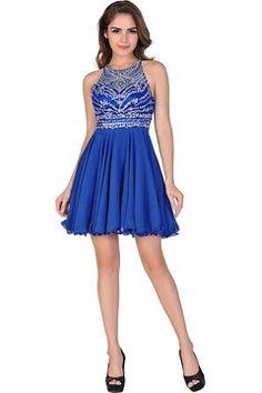 Miss Chics Women Chiffon Backless Short Beaded Prom Dress Homecoming Dress 2016