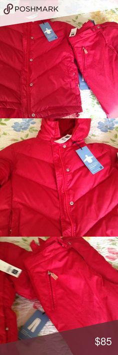 "NWT Gap jacket and snow pants set NWT Gap Kids down jacket and snow pants.  The ""warmest jacket"" is an XXL. The ""warmest pants"" are a 14.  Perfect for those cold snowy days! Cranberry color. Gap Jackets & Coats"