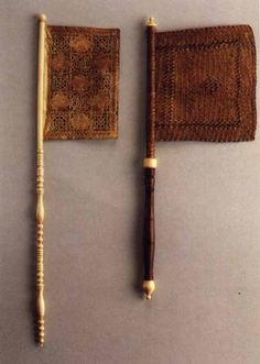 Two Weathercock Fans Venice, 16th Century. The first fan is of Perforated Parchment, the second of interlaced plant fibre (Venice, Collection G Marsiletti)