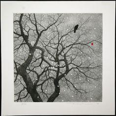 Tanaka Ryohei: Crow and Persimmon in the Snow - Japanese Art Open Database - Ukiyo-e Search Cleveland Museum Of Art, Art Japonais, Black White Art, Japanese Painting, Japanese Prints, Japan Art, Gravure, Woodblock Print, Tree Art