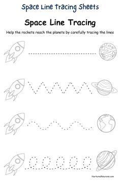 Space Line Tracing worksheets For Preschool and Kindergarten - Nurtured Neurons