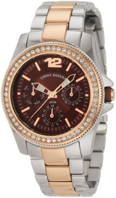 Tommy Bahama RELAX Women's RLX4007 Riveria Two-Tone Brown Dial Stones Watch Tommy Bahama. $127.49. 3-hand japanese-quartz multi-function movement with day-date & 24 -hour sub-dials. Water-resistant to 330 feet (100 M). Solind stainless steel folded link bracelet and solid stainless steel fold over buckle closure. Solid stainless steel case, case back , crown and stationary timing bezel. Durable hardnened mineral glass crystal and is water resistant to 100 meters (330 feet or ...