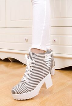 Fashion shoes vivi thick heel high-heeled shoes women's platform women's high canvas shoes color block sports shoes $26.90