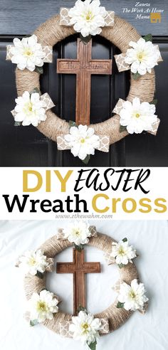 Easy DIY Easter Wreath Cross for front door. Here's an easy wooden cross wreath you can make yoursel Holiday Crafts For Kids, Easter Crafts For Kids, Easter Ideas, Cross Wreath, Easter Religious, Easter Cross, Diy Easter Decorations, Easter Wreaths, Spring Wreaths