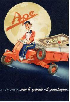 Vintage Italian Posters ~ ~ The Piaggio Ape Vintage Italian Posters, Vintage Advertising Posters, Vintage Travel Posters, Vintage Advertisements, Vintage Ads, Vintage Vespa, Vintage Labels, Vintage Photos, Moto Scooter