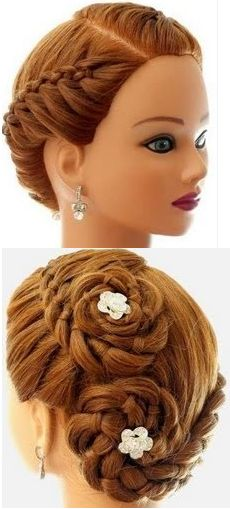 Romantic Braided Flower Updo