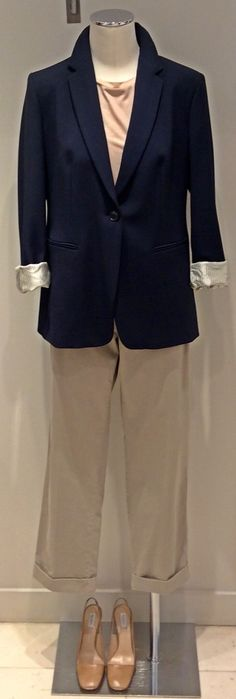 Tropical print combined with MaxMara Weekend navy blazer | MaxMara Weekend 100% linen top | MaxMara weekend 100% cotton printed pants | MaxMara genuine leather sling back shoes.  Prices on request.