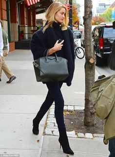 Rosie Huntington-Whiteley.. snug and sophisticated.. Balmain knitwear.. olive green Givenchy tote.. suede.. denim.