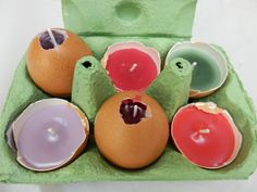 Candles made in egg shells - fab Easter activity