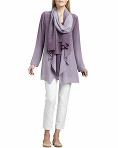 Ombre Silk Jacket, Sleeveless Jersey Tunic & Ombre Silk Scarf & Slim Ankle Pants by Eileen Fisher at Neiman Marcus.