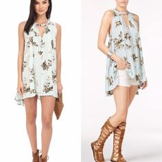 """Free People Dress and Top Combo NWT Free People Mint Combo. This can be worn as a dress or a top. Size tag reads medium but can fit various sizes depending on how it'll be worn including plus size. Back seam measures 31"""". Front starting from bottom of V 21"""". Arm opening 12"""". Armpit to armpit 28"""" Free People Dresses Asymmetrical"""