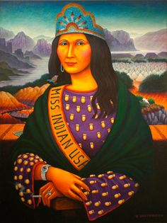"""Oh Mona... - Ginn David P. Bradley, Pow-Wow Princess in the Process of Acculturation, 1990, acrylic on canvas, 48 x 36"""""""