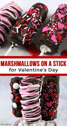 Marshmallows on a Stick for Valentine's Day - Looking for a unique and delicious Valentine's Day Treat for your family? How about a Marshmallow on a Stick? Marshmallow Fudge, Mini Marshmallows, Valentine Desserts, Valentines Day Treats, Kids Valentines, Mini Muffins, Graham Crackers, Strawberry Mousse, Low Carb Cheesecake