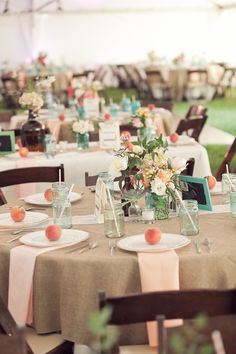 i love the peach and turquoise colors and almost everything about this wedding! http://www.myraleighevents.com/2012/06/haley-and-steve-marry-at-the-arbors/