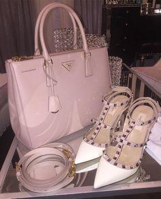 Prada bag and Valentino Rockstud Shoes