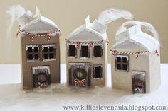 Karácsonyi házikók tejesdobozból