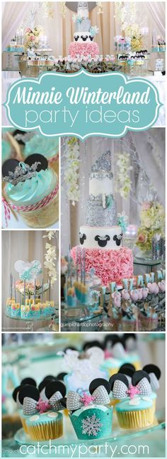 How pretty is this winter themed Minnie Mouse birthday party?! See more party ideas at CatchMyParty.com!