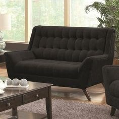 Shop for Coaster Company Tufted Black Chenille Loveseat. Get free shipping at Overstock.com - Your Online Furniture Outlet Store! Get 5% in rewards with Club O!