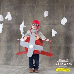 Got an aspiring aviator? You can easily put together this pilot costume with a cardboard box and a quick trip to the craft store.