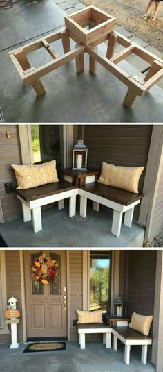Diy Corner Bench With Built In Table Consider Building In  Separable Parts Adding Latch Systems To Allow Disassembly Front Porch Idea