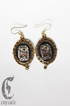 Steampunk Neo Victorian Golden Cameo Earrings with Antique Etched Striped Watch Movement with Gold Swarovski Crystal by CapsuleCreations on Etsy