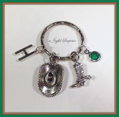 SALE - Personalized Cowboy Keychain, Cowgirl Key chain Country Girl Gifts Cowboy Hat Cowboy Boots Charm Jewelry with initial & birthstone  A personal favorite from my Etsy shop https://www.etsy.com/ca/listing/259325660/sale-personalized-cowboy-keychain