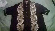 Campia Moda Xl Black with White Leaves Hawaiian Shirt  #CampiaModa