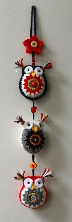 Crochet Trio of Owls Wall Hanging, Garland, Decoration. by DAISYandARTHUR on Etsy