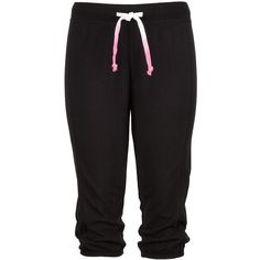 Black Cropped Lounge capri ($20) ❤ liked on Polyvore featuring activewear, activewear pants, pants, bottoms, sweatpants, jeans, sweats, cropped sweat pants, sweat pants and cropped sweatpants