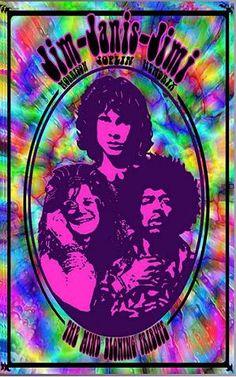 ☯☮ॐ American Hippie Classic Rock ~ Jimi Hendrix, Jim Morrison and Janis Joplin psychedelic concert poster.