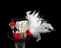 Queen of Hearts – Black, White, and Red Harlequin Medium Mini Top Hat Fascinator, Alice in Wonderland, Mad Hatter Tea Party, Derby Hat by TheWeeHatter | Smoked Glass Goggles