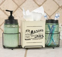 "This caddy includes two Mason jars, one with 2"" diameter hole in the lid (perfect to hold toothbrushes) and one with a pumper (perfect for liquid soap)."