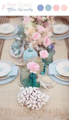 A découvrir sur notre blog : une page tendance et des idées de décoration de mariage déclinées des couleurs Pantone 2016, Rose Quartz et Bleu Serenity