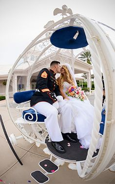 Fairy tale inspired ceremony exit at Disney's Wedding Pavilion