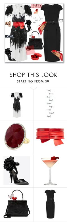 """""""Happy Valentines Day"""" by nantucketteabook ❤ liked on Polyvore featuring Alexander McQueen, Yves Saint Laurent, Carol's Daughter, Amanda Wakeley, Salvatore Ferragamo, DateNight, black, red and happyvalentinesday"""