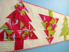 Christmas tree table runner tutorial at: designed by Christen on Love by Hand on the  Sewmamasew blog.
