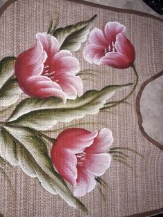 Fabric Colour Painting, Fabric Painting On Clothes, Lace Painting, Acrylic Painting Flowers, Acrylic Painting Techniques, Painted Clothes, Bed Sheet Painting Design, Rose Stencil, Ribbon Flower Tutorial