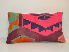 Multicolor Lumbar Cushion Turkish Kilim Bolster Wool Euro Sham Pink Pillow Living room decor Lumbar Kilim Bolster 55x30 Shabby Chic Decor on Etsy, $42.00