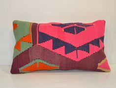Multicolor Lumbar Cushion Turkish Kilim Bolster Wool Euro Sham Pink Pillow Living room decor Lumbar Kilim Bolster 55x30 Shabby Chic Decor on Etsy, $42.00