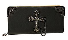 Prettybag Lady Girls Retro Jesus Cross Clutch Evening Party Purse Wallet Bag