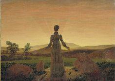 """Picture: """"Frau vor der untergehenden Sonne"""" - C. D. Friedrich, Correlating story: """"Frau vor der untergehenden Sonne"""" - Lola Victoria Abco"""