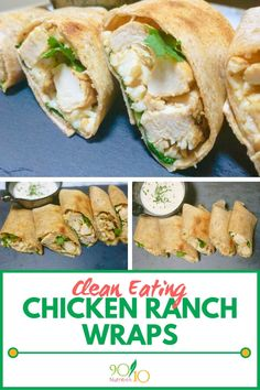 These clean eating chicken ranch wraps are the perfect combo of flavors and textures. Like a taco, but also ranch chicken. Clean Eating Kids, Clean Eating Chicken, Clean Eating Snacks, Healthy Snacks, Healthy Recipes, Healthy Eating, Lunch Recipes, Yummy Recipes, Chicken Wrap Recipes