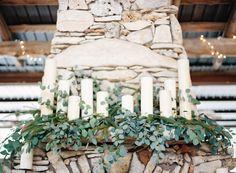 Outdoor Boho Austin Wedding Photography: Lauren Peele – www.laurenpeeleph… Read More: www. Wedding Fireplace Decorations, Wedding Mantle, Ceremony Decorations, Wedding Bells, Wedding Centerpieces, Candles In Fireplace, Pillar Candles, White Candles, Candle Jars