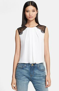 Alice + Olivia 'Loretta' Lace Shoulder Silk Top available at #Nordstrom