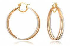 Circle of Love III hoops by Simone I. Smith 18kt Yellow Gold & Platinum over Sterling Silver
