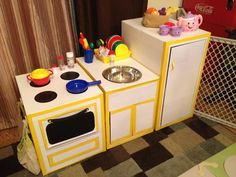 Happiness and Living Fab!: Earth Day: Upcycling - Making A Play Kitchen From Boxes